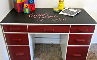 desk makeover diy, painted furniture