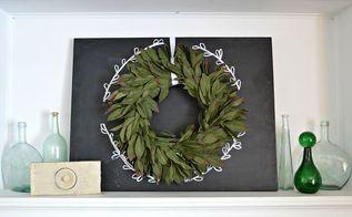 simple chalkboard wreath mantel, chalkboard paint, crafts, fireplaces mantels, wreaths