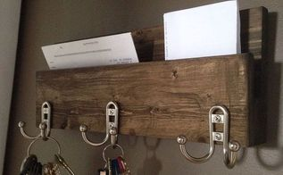 modern rustic 3 hanger hook hat rack with mail key organizer, home decor, organizing
