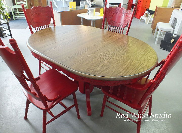 Repainted Dining Room Set In Bold Red Painted Furniture