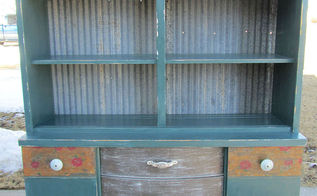 corrugated tin repainted hutch, painted furniture, repurposing upcycling