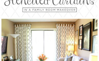 stenciled curtains in a family room makeover, diy, home decor, living room ideas, window treatments
