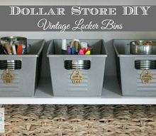 dollar store diy vintage locker bins, crafts, organizing, storage ideas
