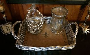 repainted thrifted serving basket tray goes ooh la la, crafts, repurposing upcycling
