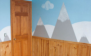 diy painted mountain walls, bedroom ideas, home decor, wall decor