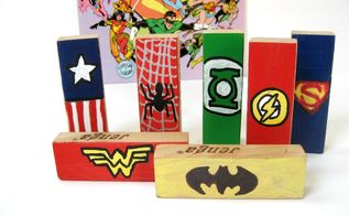 diy superhero repurposed blocks, crafts, how to, repurposing upcycling