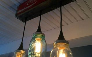 how to make a pendant light form a coke crate and mason jars, how to, mason jars