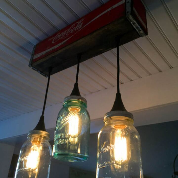 How to make a pendant light from a coke crate and mason jars hometalk how to make a pendant light form a coke crate and mason jars how to aloadofball Images