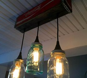 how to make a pendant light form a coke crate and mason jars how to