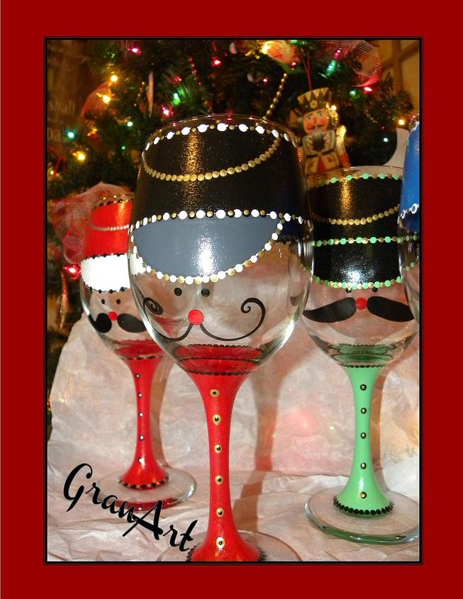 Painted wine glass by granart hometalk for Christmas glass painting