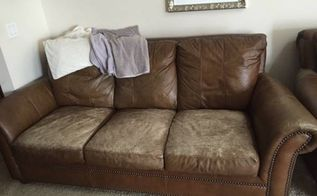 q repairing and revamping leather couch cushions, how to, painted furniture, reupholster