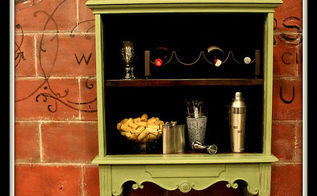 old stereo cabinet turned vintage bar, diy, entertainment rec rooms, home decor, kitchen design, painted furniture