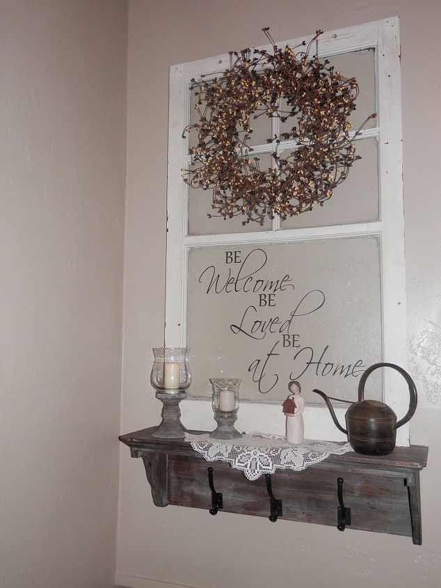 Repurposed old window to shelf decoration hometalk for Repurposed home decorating ideas