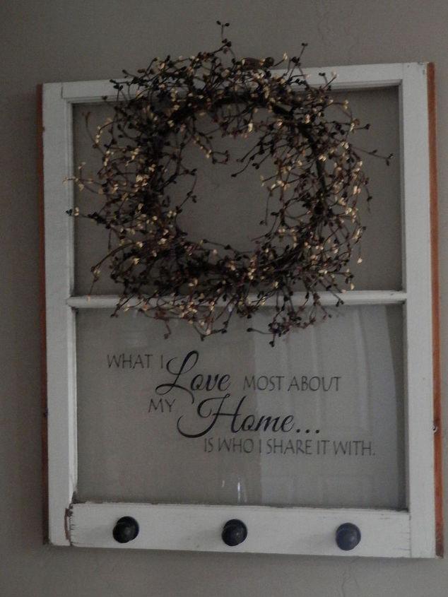 Repurposed old window to shelf decoration hometalk for Old window panes craft ideas