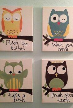 kids owl bathroom art, bathroom ideas, crafts
