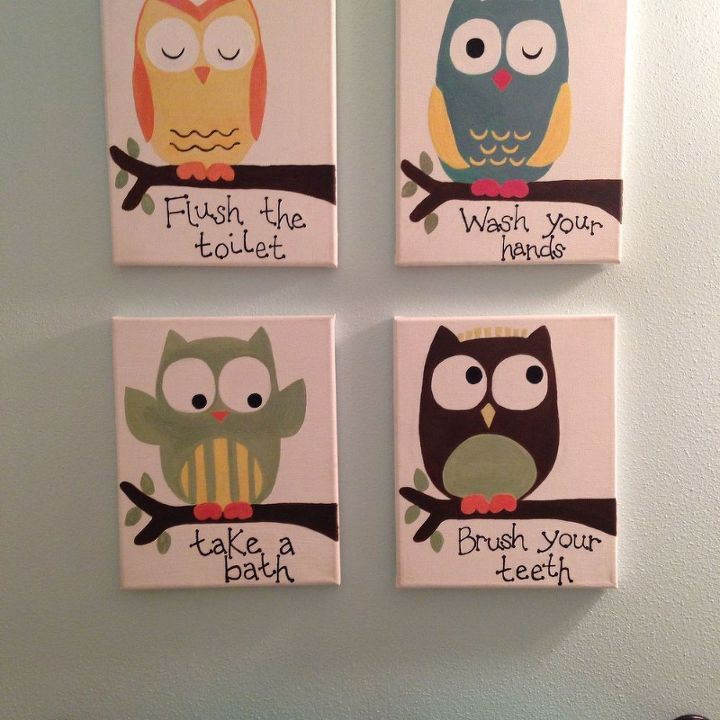 Kids Owl Bathroom Art | Hometalk