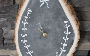 diy wood slice chalkboard clock, chalkboard paint, crafts, diy, how to, repurposing upcycling
