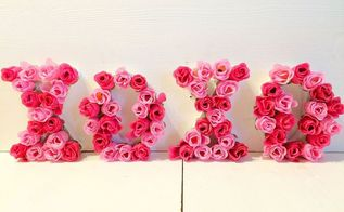 valentine s day craft floral letters, crafts, how to, seasonal holiday decor, valentines day ideas