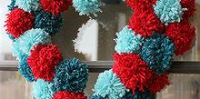 pom pom heart wreath, crafts, seasonal holiday decor, valentines day ideas, wreaths