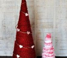 yarn wrapped valentine trees, crafts, seasonal holiday decor, valentines day ideas
