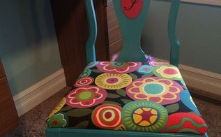 old kitchen chair gets makeover to a child s desk chair, painted furniture, reupholster