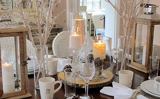 winter white tablescape, dining room ideas, seasonal holiday decor