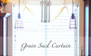 grain sack curtain, crafts, how to, repurposing upcycling, window treatments