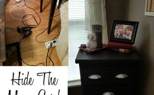 hide cord clutter using repurposed nightstands, organizing, painted furniture, repurposing upcycling