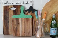 colorful bread boards wooden utensils painted w chalk paint, chalk paint, crafts