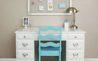 dressed up repainted desk in white, bedroom ideas, painted furniture