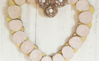 diy rustic wood slice heart wreath, crafts, repurposing upcycling, seasonal holiday decor, valentines day ideas, wreaths