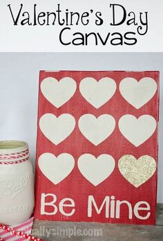 stenciled valentine s day canvas, crafts, how to, seasonal holiday decor, valentines day ideas