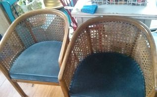 updated vintage barrel chairs, chalk paint, reupholster