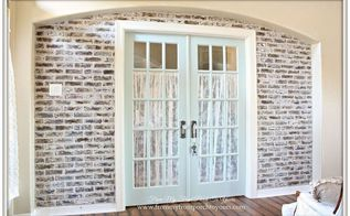 diy faux brick wall reveal, concrete masonry, foyer