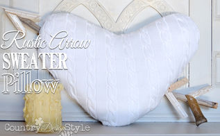 sweater heart pillow with rustic arrow stabbed through, crafts, reupholster