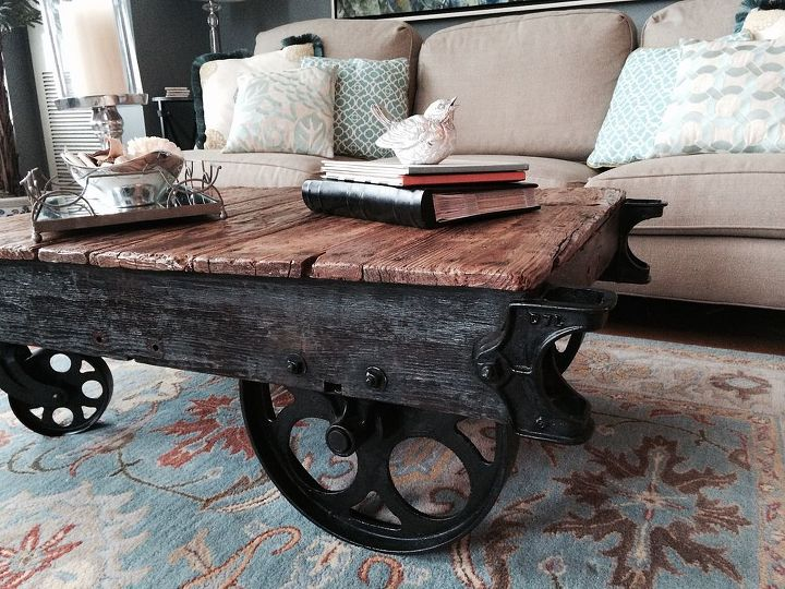 factory cart coffee table, how to, painted furniture, repurposing upcycling - Factory Cart Coffee Table Hometalk