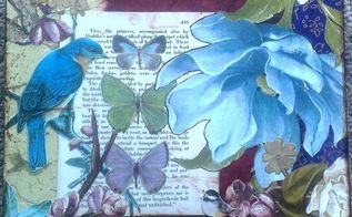 mixed media on artist panel, crafts, decoupage, wall decor, Blue Bird Butterflies