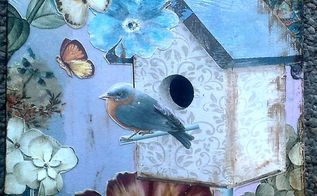 mixed media on artist panel, crafts, decoupage, wall decor, Grey Bird