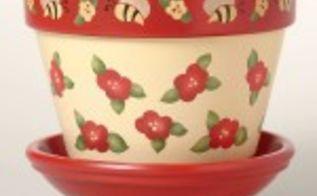 stencilled flower pots, crafts, gardening, Rosie Posie Flower pot stencil