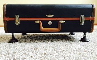 repurposed suitcase to ottoman, painted furniture, repurposing upcycling