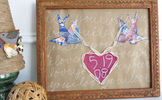 sweet birds and heart wall art for valentine wedding or anniversary, crafts, seasonal holiday decor, valentines day ideas
