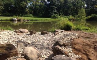 farm pond renovation overflow installation, landscape, ponds water features