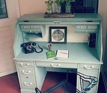 blue painted oak desk, painted furniture