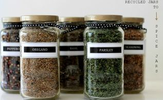 recycled sauce jars to spice jars, crafts, organizing, repurposing upcycling, storage ideas