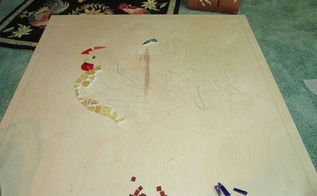 left over broken glass mosaic art piece, crafts, how to, tiling, Plywood etching