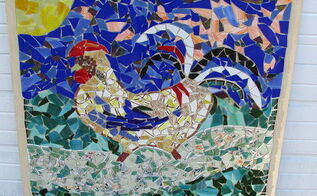 left over broken glass mosaic art piece, crafts, how to, tiling