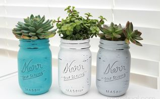 painted mason jar succulent planters, chalk paint, crafts, flowers, gardening, mason jars, repurposing upcycling, succulents