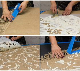 How To Stencil Burlap Tablecloths, Chalk Paint, Crafts, Dining Room Ideas,  Home