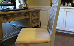 thrift score chair makeover with milk paint and drop cloth, painted furniture, reupholster