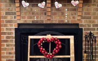 valentine heart banner on mantel, crafts, fireplaces mantels, seasonal holiday decor, valentines day ideas, wreaths